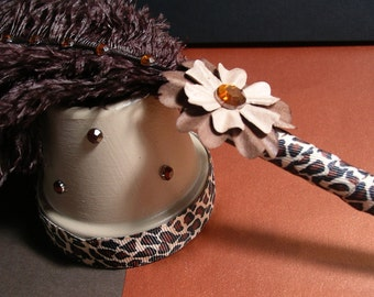 Ostrich Feather Pen/Stand - Cheetah Animal Print