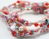 Multiple Strand Necklace Coral White and Rose