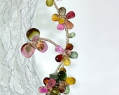 Watermelon Tourmaline Sapphire Flowers Necklace