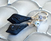 Australian Opal, Black Onyx, Silver Earrings
