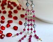 Akoya Saltwater Pearls, Ruby, Oxidized Sterling Silver Flapper Earrings