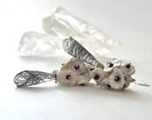 OOAK Flowers Earrings, Black Rutilated Quartz, Silver, Black Spinel, Keishi Pearl, Black and White Jewelry