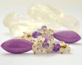 Amethyst, Australian Opal, Phosphosiderite, Moonstone, Long Cluster Earrings, Christmas Jewelry
