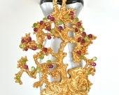 Vintage Sascha Brastoff Tree of Life Ruby Peridot Gold Tree Necklace