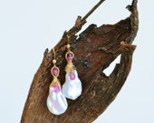 Ruby, Keishi Pearl, Gold, Abstract Dangle Earrings