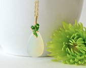 Sage Green Chalcedony Drop, Chrome Diopside Necklace