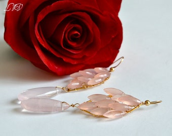 Rose Quartz,  Pink Chalcedony, Gold Long Bold Earrings