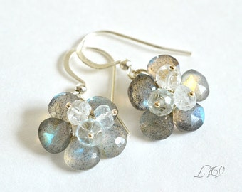 Flashy Labradorite, Aquamarine, Sterling Silver, Gemstone Flower Earrings