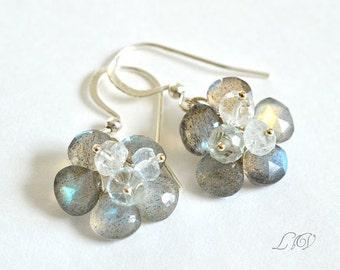 Flashy Labradorite, Aquamarine, Sterling Silver, Gemstone Flower Earrings