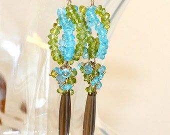 Long Gold Earrings, Peridot, Apatite, Smooth Olive Smoky Quartz
