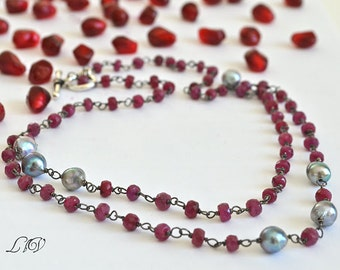 Ruby, Akoya Saltwater Pearls, Oxidized Sterling Silver Assymetric Statement Necklace