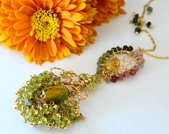 Tourmaline Peridot Citrine Ametrine Gold Statement Necklace