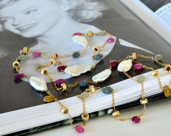 Marilyn Long Necklace Sapphire Biwa Pearl Watermelon Tourmaline Gold Filled