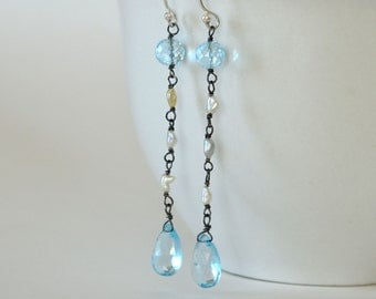 Long Flapper Earrings, Sky Blue Topaz, Akoya Saltwater Pearls, Oxidized Sterling Silver