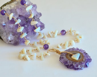 Australian Opal, Purple Amethyst Stalactite Necklace, October Birthstone
