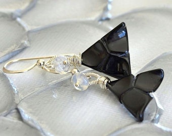 Australian Opal, Black Onyx, Silver Geometric Modern Earrings