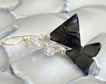 Australian Opal, Black Onyx, Silver Geometric Modern Earrings