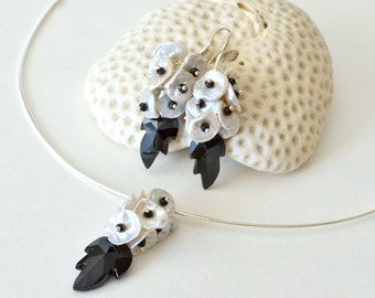 Black Spinel Keishi Pearl Silver Earrings and Necklace Set