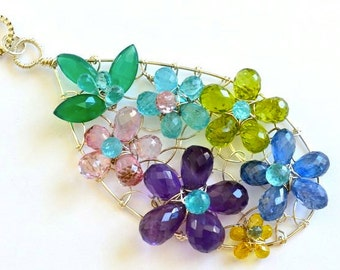 Flowers Bouquet Pendant, Saphire, Chalcedony, Apatite, Peridot, Kyanite, Pink Topaz, Amethyst, Silver