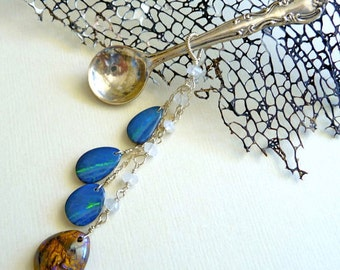 Vintage Sterling Silver Spoon Brooch, Australian Boulder Opal, Moonstone, October Birthstone