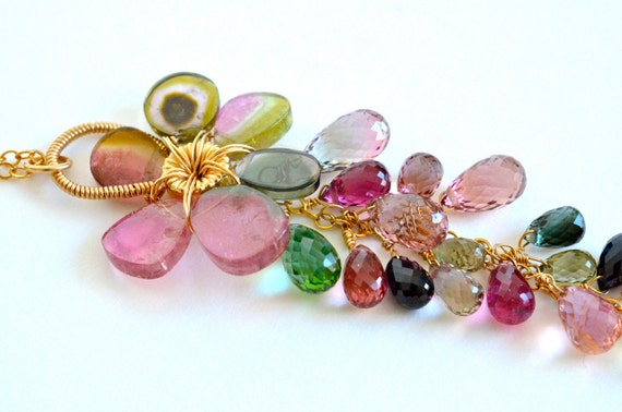 OOAK Flower Colorful Necklace Watermelon Tourmaline Gold Filled