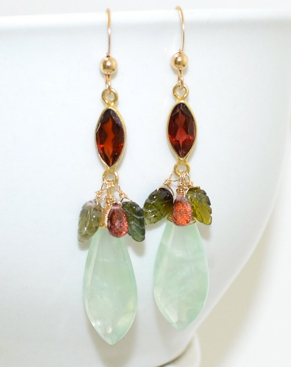 long Feminine Earrings, Prehnite, Garnet, Tourmaline, Gold Filled