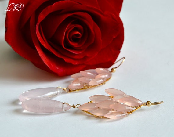Rose Quartz,  Pink Chalcedony, Gold Long Bold Earrings