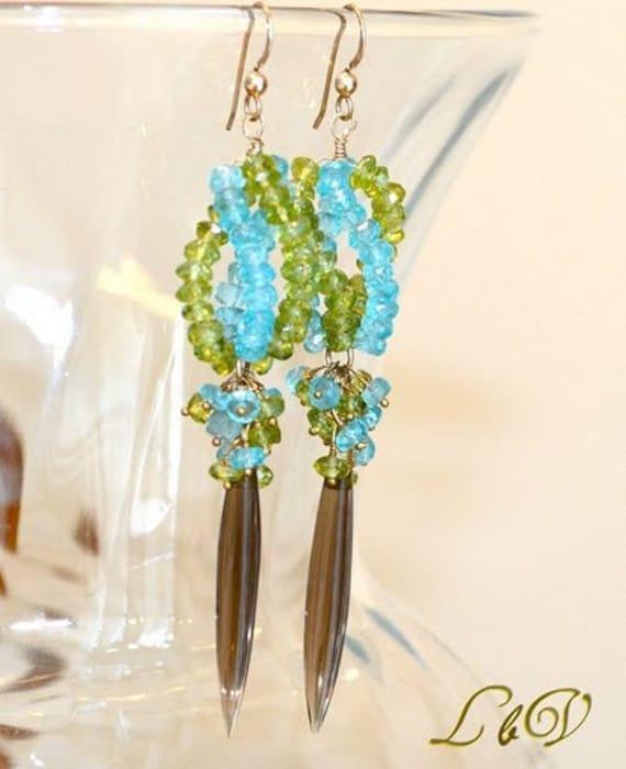 Long Gold Earrings, Peridot, Apatite, Smooth Olive Smoky Quartz