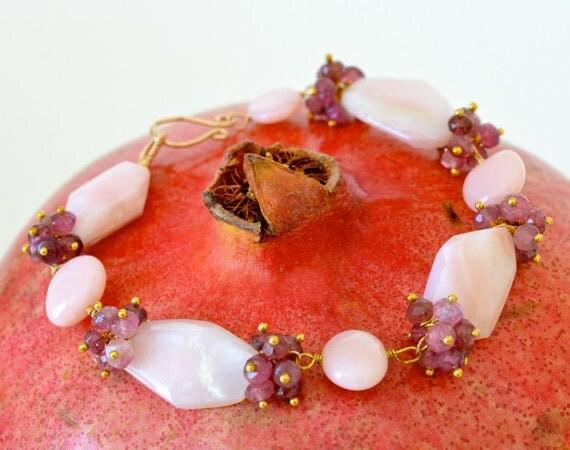 Tourmaline, Gold, Pink Opal, Large Stone Bracelet, Gemstone Jewelry