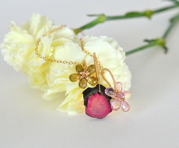 OOAK Exotic Gemstone Flower Necklace Watermelon Tourmaline Pink Topaz Gold Filled