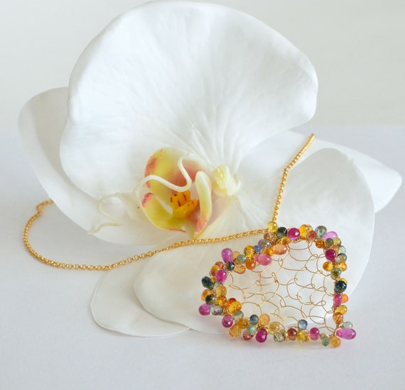 Sapphire Heart Colorful Gold Filled Necklace