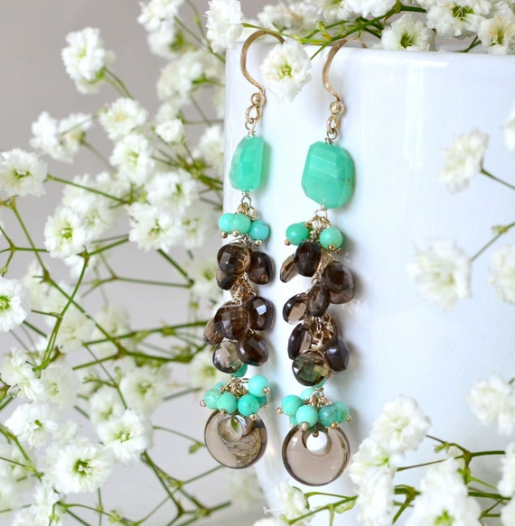 Smoky Quartz Chrysoprase Long Cluster Earrings