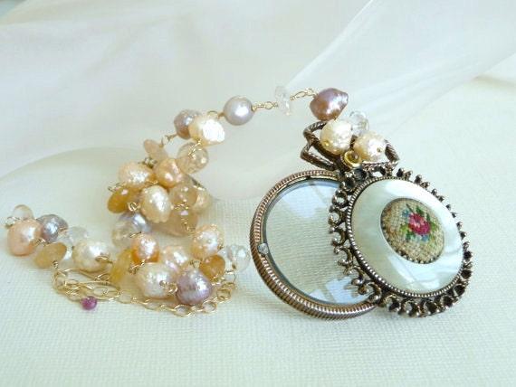 Antique Magnifying Glass,Tangerine Quartz, Druzy Rosebud Pearl Necklace