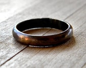 4mm Chocolate Brown Antiqued Brass Men's or Unisex Band -  Made in Your Size