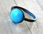 Turquoise Ring, Sky Blue Sleeping Beauty Oxidized Sterling Silver - Made to Order - Malarie