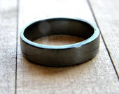 Men's Silver Band, Men's or Unisex Simple Flat 5mm Band Oxidized Sterling Silver Ring - Made in Your Size
