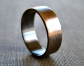 Men's Ring ,6mm Chocolate Brown Antiqued Brass Unisex Flat Band -  Made in Your Size
