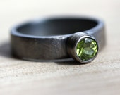 Birthstone Ring, Lime Green Peridot Faceted Gemstone Roughed Up Sterling Silver - Size 7.5