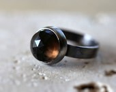 Smoky Quartz Ring, Chocolate Brown Faceted Roughed Up Oxidized Sterling Silver Ring - Size 7.5 - Indulgence