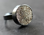 Gold Druzy Ring, Metallic Gold Oxidized Sterling Silver Druzy Jewelry - Made To Order - Gold Coast