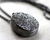 Black Druzy Necklace, Night Black Drusy Oxidized Sterling Silver Pendant Necklace - Tuxedo - Made to Order