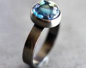Mystic Topaz Ring, Aqua Blue Topaz Gemstone Roughed Up Oxidized Sterling Silver Ring Topaz Jewelry Size 8 - Cosmos