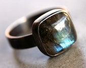 Labradorite Ring, Blue Flash Labradorite Oxidized Recycled Argentium Sterling Silver Ring - US Size 9 - TheSlyFox