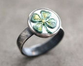 Shamrock Ring, Kelly Green Four Leaf Clover St. Patrick's Day Oxidized Sterling Silver Ring - Made in Your Size - Irish Lucky Charm