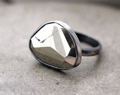 Pyrite Ring, Metallic Golden Rose Cut Pyrite Oxidized Sterling Silver Ring Geometric Modern Fool's Gold Pyrite Jewelry - Size 8