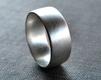 Men's Silver Ring, Matte 8mm Men's or Unisex Recycled Argentium Sterling Silver Low Dome Band - Ready to Ship in US size 10