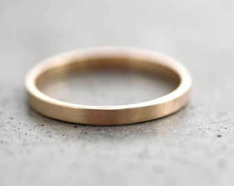 Gold Wedding Band Stackable Ring, 2mm Slim Recycled 14k Yellow Gold Ring Brushed Gold Wedding Ring or Stacking Ring