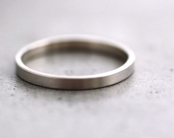 White Gold Wedding Band Stackable Ring, 2mm Slim Recycled 14k Palladium White Gold Ring Brushed White Gold Wedding Ring Stacking Ring