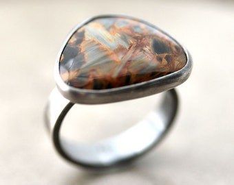 Brown Blue Stone Ring, Autumn Topaz Gold and Midnight Blue Pietersite Stone Organic Freeform Oxidized Sterlng Silver Ring - US Size 6