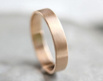 Men's Gold Wedding Band, Unisex 4mm Brushed Flat 10k Recycled Yellow Gold Wedding Ring Gold Ring -  Made in Your Size